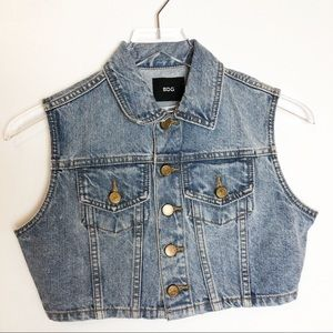 Urban Outfitters | BDG Cropped Denim Button Vest